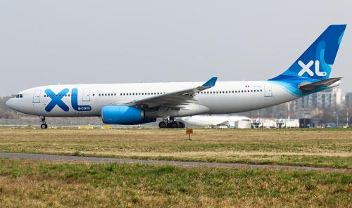 Airbus A330 francuskiej linii lotniczej XL, która pierwszy raz odwiedziła Polskę.