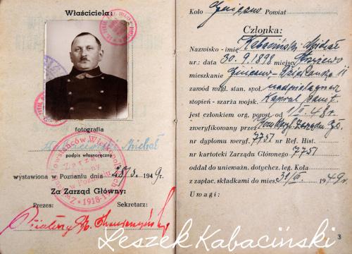 Michał Kabaciński 1898 1961 Powstaniec legitymacja