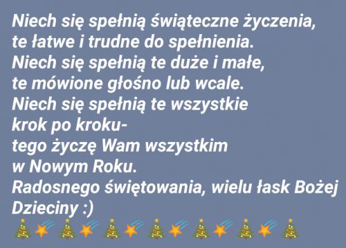 Tak wyszło, że przygotowałam ten wpis w komórce i z niej wstawiam. Może niezbyt wyszukane graficznie, ale najszczersze życzenia na Święta Bożego Narodzenia i na Nowy Rok :)