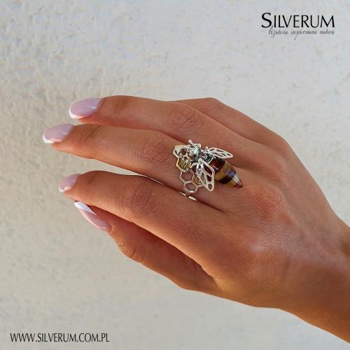 Oryginalny Pierścionek z pszczołą - unikatowe wzornictwo - silverum.com.pl #pierścionek #prezent #dlaniej #oryginalny #piękny #modny