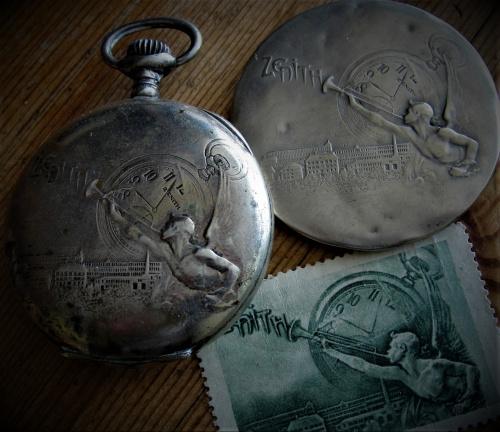 Les publicités Zénith du début du 20e siècle - montre, miroir, timbre-poste. 2b3b360d305489e8med