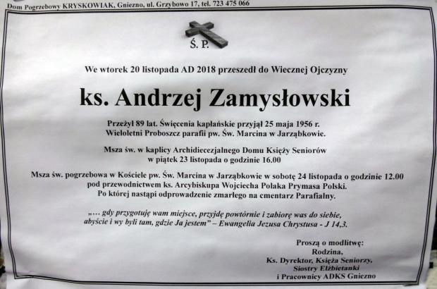 Ks. Andrzej Zamysłowski lat 89